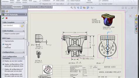 solidworks tutorial assembly drawing solidworks assembly drawing part ii youtube
