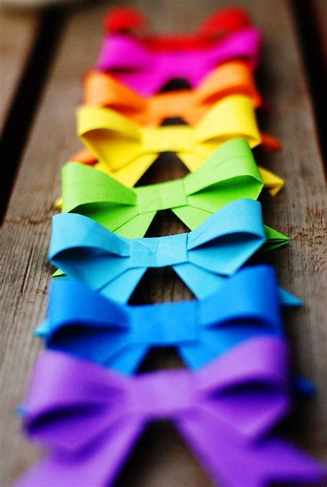 Colorful Origami - origami bow tutorial paper bows bow ties