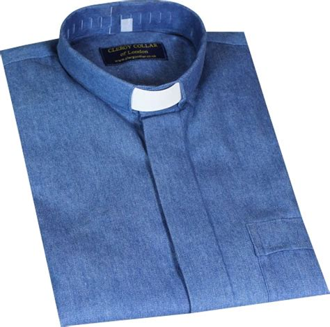 Inch Roman Shade - denim clerical shirt clergy collar