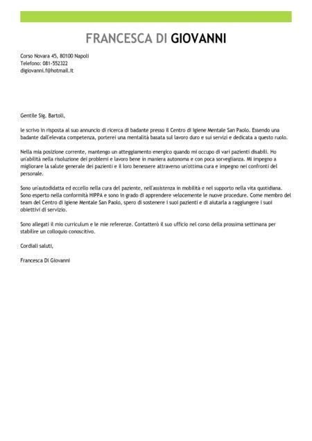 Esempi Lettere Di Referenze by Esempio Lettera Di Presentazione Badante Modello Lettera