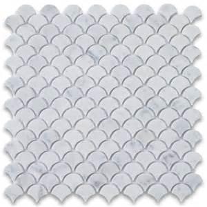 Gray Tile Flooring For Bathroom - carrara white medium fish scale fan shaped mosaic tile