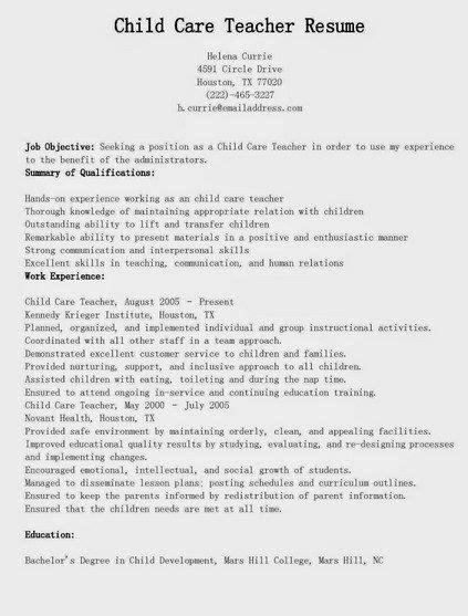 child care resume http getresumetemplate info
