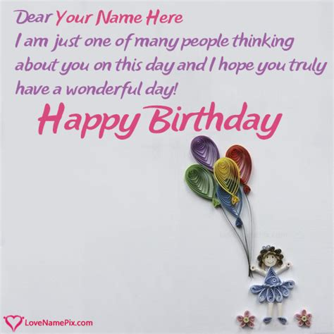 Birthday Card With Name Generator Birthday Card Messages For Girl Name Generator