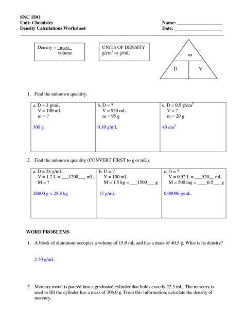 density worksheets with answers density worksheet with
