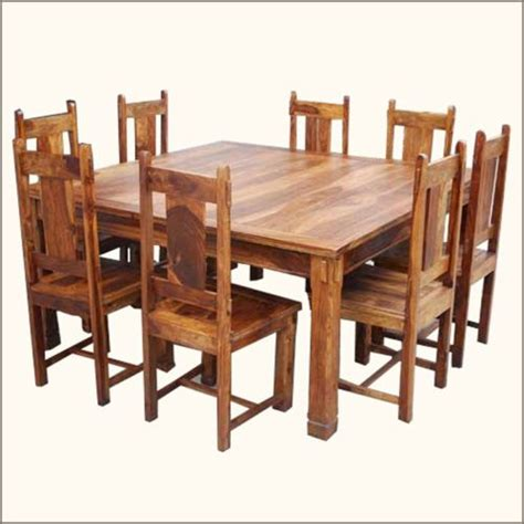 8 Person Square Dining Table 64 Quot Large Rustic Square Dining Table Chair Set For 8 Furniture Dining Table Chairs