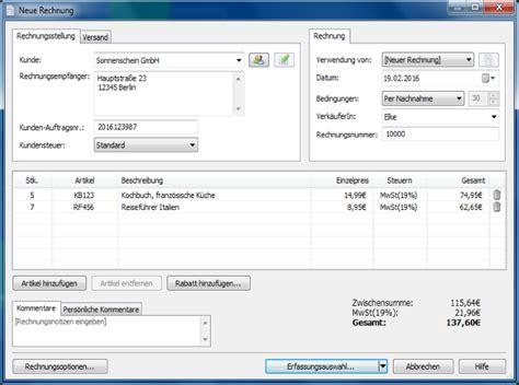 len auf rechnung screenshot vom rechnungsprogramm express invoice