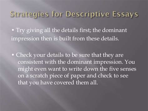 Dominant Impression Essay by Descriptive Essay Using Dominant Impression Homeworkzoneedit X Fc2