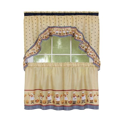 Chef Kitchen Curtains Italian Chef Window Curtain Set Kitchen Swag 24 Quot Tiers Ebay