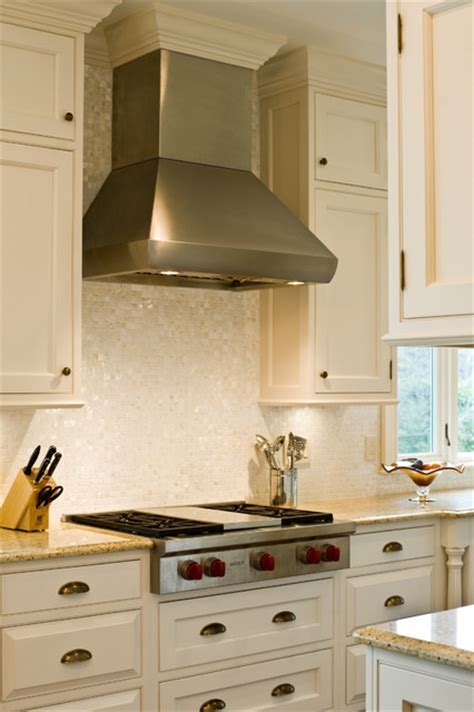 """Wolf 36"""" gas rangetop and hood   Traditional   Kitchen"""