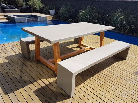 concrete patio furniture outdoor furniture 2mt x 1mt grc concrete table 2 x