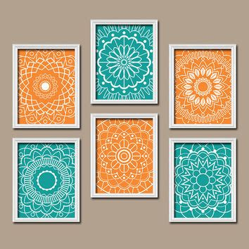 new turquoise and orange decor 90 with additional interior wall art kitchen bedroom bathroom mandala from trm design