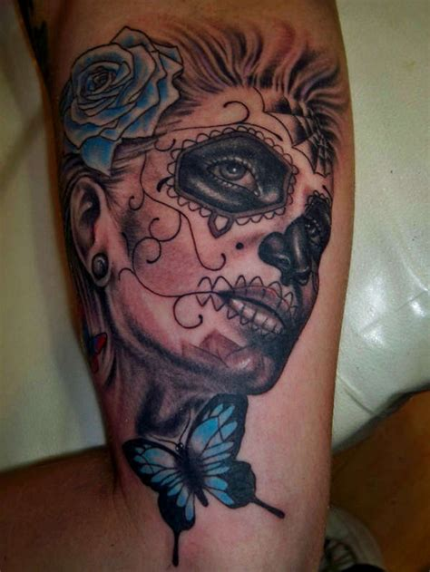skull butterfly rose tattoo mexican skull and blue butterfly and