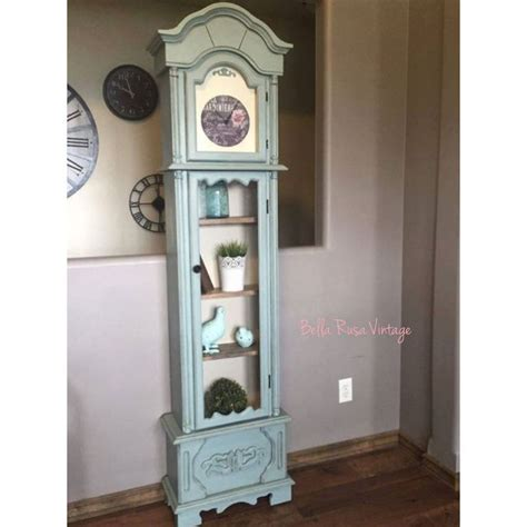 refinished annie sloan duck egg grandfather clock into