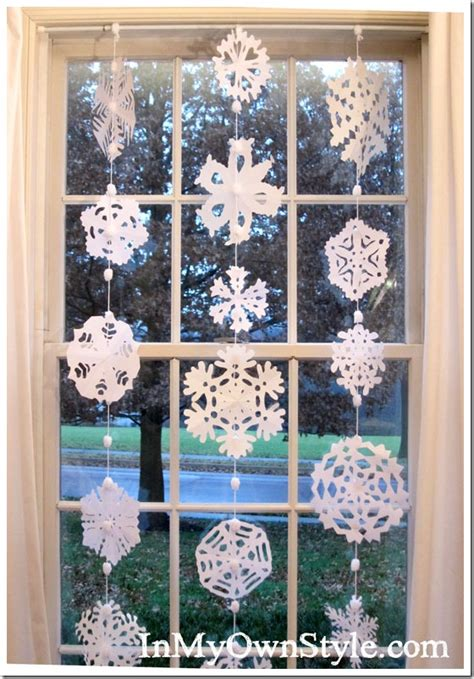 how to make a no sew paper snowflakes window curtain in