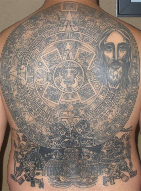 aztec sun stone and jesus full back tattoo tattooimages biz