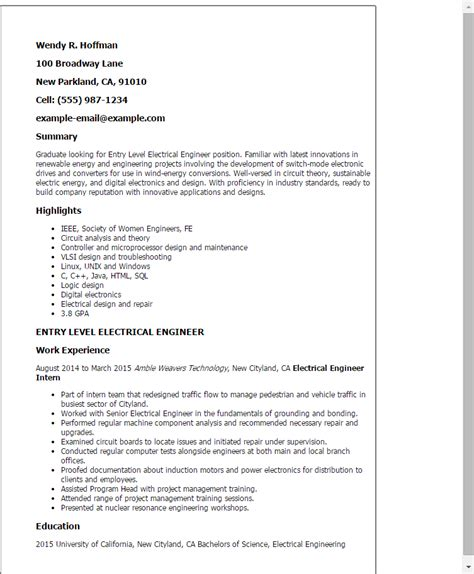 Resume Exles Entry Level Engineering Professional Entry Level Electrical Engineer Templates To