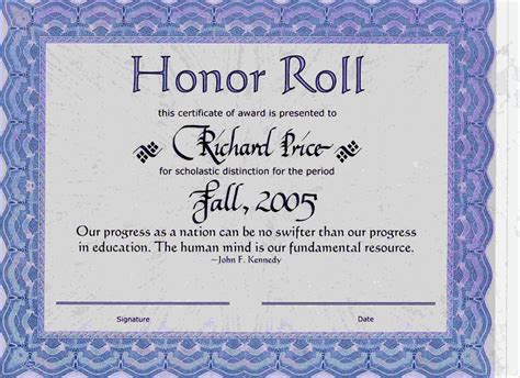 5 honor roll certificate bibliography format
