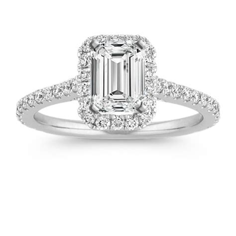 halo engagement ring for 1 00 carat emerald cut
