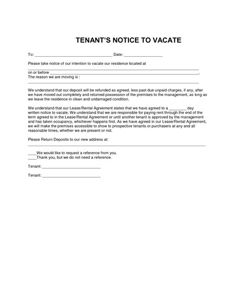 notice to vacate letter to tenant template best photos of tenant notice to vacate premises notice