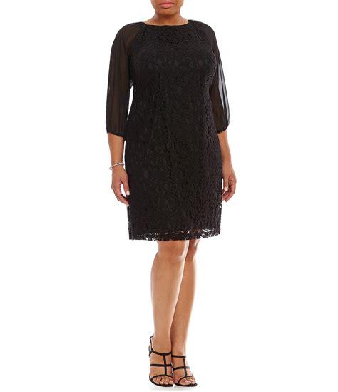 Tendencies Dress Deyhan Sheer Sleeves papell plus sheer sleeve lace shift dress dillards