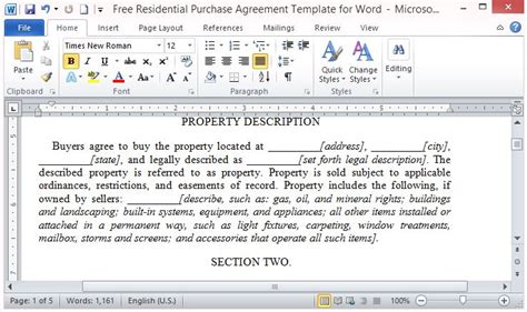 Free Residential Purchase Agreement Template For Word Contract Template For Buying A House