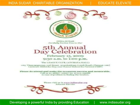 Invitation Letter Format For Annual Day India Sudar 5th Annual Day Celebration
