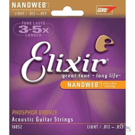 Elixir 16052 Phosphor Bronze With Nanoweb Coating Light Light Guitar Strings