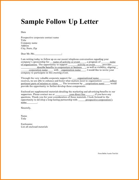 Business Writing Follow Up Letter sle business follow up letter the letter sle