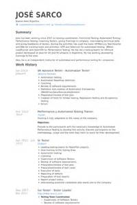 sle resume for software tester fresher resume sle software tester