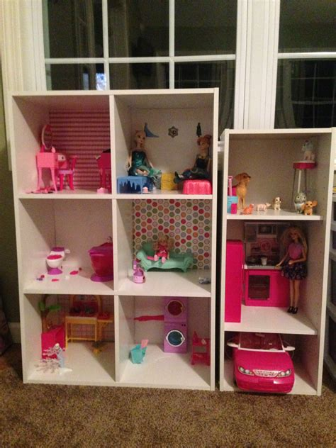 how to build a barbie doll house out of wood the perfect homemade barbie house shelving from target thumb tacks scrapbooking paper do