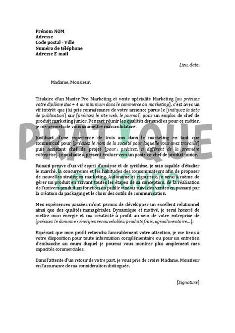 Lettre De Motivation De Marketing Lettre De Motivation Pour Un Emploi De Chef De Produit Marketing Junior D 233 Butant Pratique Fr