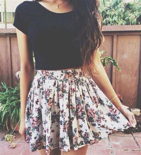 floral skirt outfit tumblr www pixshark com images