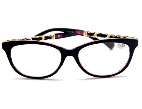 retro big horned frame gold chain temples reading
