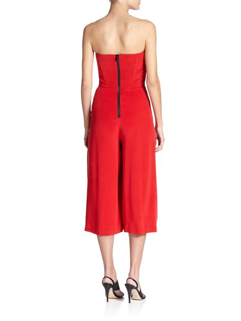 Yumico 3 In 1 Jumpsuit lyst milly strapless silk jumpsuit in