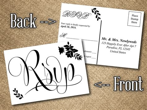 wedding postcard template diy wedding rsvp postcard word template vintage