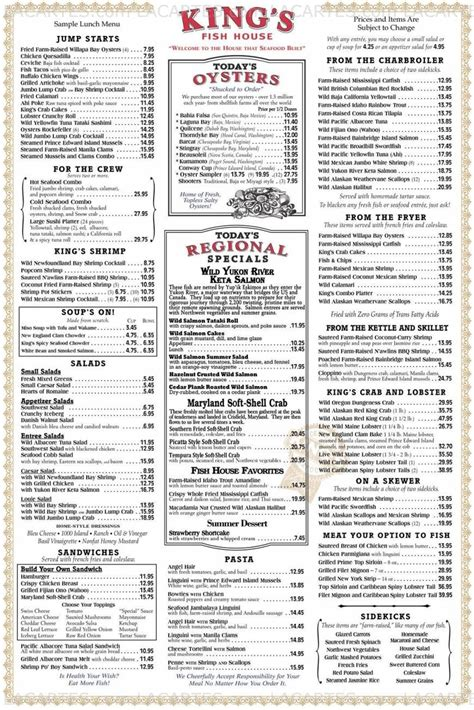 8 of 8 price lists menus king s fish house tempe