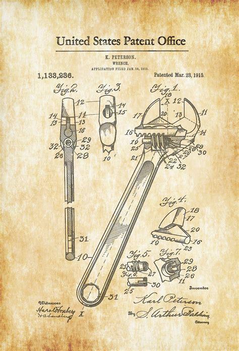 Vintage Home Office Decor Adjustable Wrench Patent 1915 Patent Print Vintage