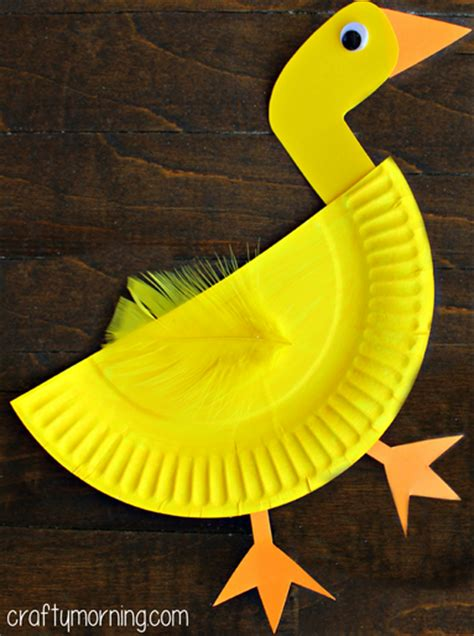 Paper Duck Craft - paper plate duck craft for crafty morning