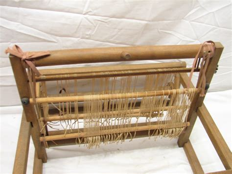 vintage wooden table top weaving loom small work