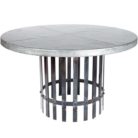 round zinc table top zinc top dining table scrolled pedestal zinc top dining