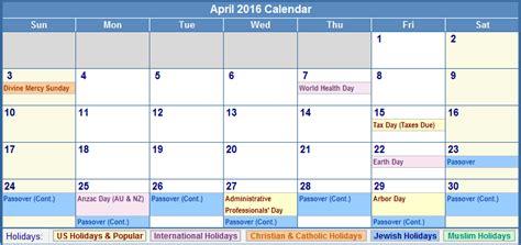 April 2016 Calendar With Holidays April 2016 Blank Printable Calendar