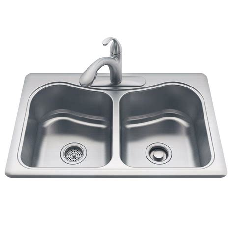 kohler drop in sinks kohler all in one staccato drop in stainless steel 33 in