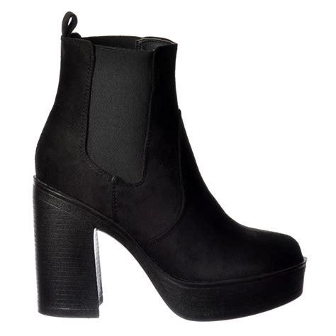 shoekandi classic high heeled chelsea platform ankle boots
