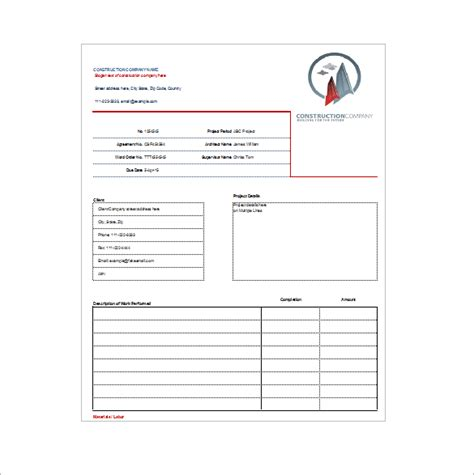 construction receipt template construction receipt template 7 free word excel pdf