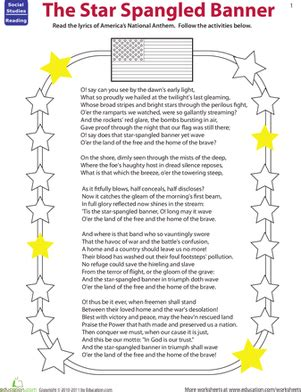 coloring page of the star spangled banner read the star spangled banner worksheet education com