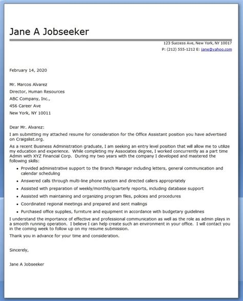 Office Letter Format Office Assistant Cover Letter Sle Resume Downloads
