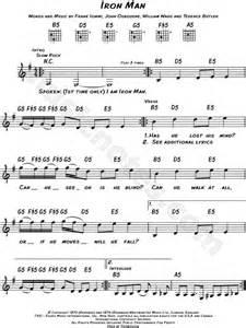 theme song iron man black sabbath quot iron man quot sheet music leadsheet in e
