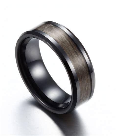 mens wedding rings with wood inlay 8mm mens brown color wood inlay black ceramic ring