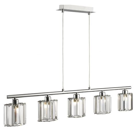 6375 5cc 5 Light Chrome Ceiling Bar With Coffin Glass Shades Pendant Light Bar