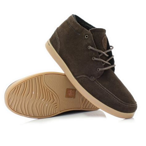 reef shoes mens reef spiniker mid brown suede leather lace up casual